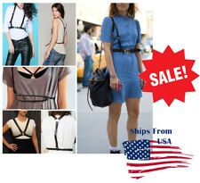 Basic Fashion Punk Handcrafted Body Harness Strap Waist Belts PU Leather S/L US
