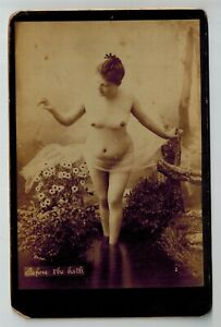 Cabinet card albumen photo nude woman before bathing beauty original early 1890s