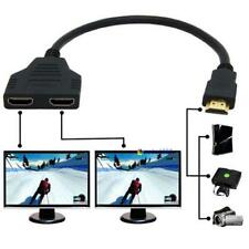 HDMI 1 Male To Dual HDMI 2 Female Y Splitter Cable Adapter HD LED LCD TV NEW UP