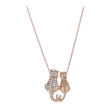 Cat Couple Statement Necklace - Made with Austrian Crystals - Rose Gold Plating