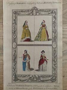 1785 English Ladies Engraving Lady Elizabeth, Jane Seymour, London Mayoress
