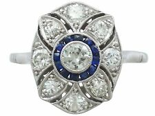 Vintage 0.76 ct Diamond and 0.18 ct Sapphire Platinum Dress Ring Circa 1940