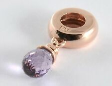 Bd041- GENUINE 9ct Solid ROSE Gold NATURAL Purple Amethyst Drop Bead