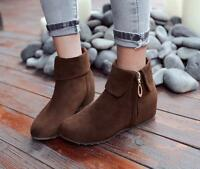 Women's Low Heel Comfortable Ankle Boots Suede Roma New Ladies Shoes Plus Size