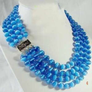 4 ROWS 8MM Mexican BLUE OPAL CAT'S EYE ROUND GEMSTONE BEADS NECKLACES 17-20''