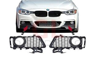 FOR BMW 3 SERIES F30 F31 2011-2015 M SPORT FRONT BUMPER FOG LIGHT GRILL PAIR SET