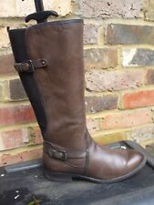 Brown Leather Buckle Detail  Boots - TAMARIS-  Size 4 UK