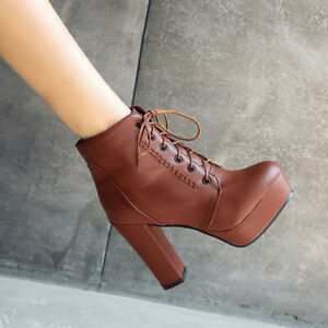 Womens Gothic Punk Shoes Block High Heel Lace Up Platform Round Toe Ankle Boots