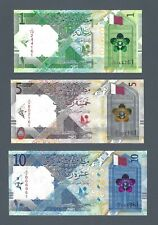 QATAR 1; 5; 10 Riyals, 2020 Brand New Series, Pack Fresh UNC, Last Digits Match