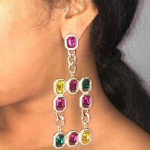 Vivid Pink Ruby, Shiny Green Emerald & Clear Yellow Citrine Dangle-Drop Earrings