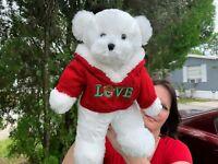 BIG VINTAGE Dan Dee White Teddy Bear Christmas Love Hoodie Plush Stuffed Animal