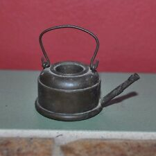 Vintage Miniature Brass TeaPot Kettle Without Lid Hinged Handle Heavy For Size!