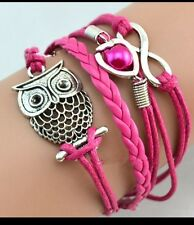 Pink braided silver toned owl bracelet silver toned heart with faux pearl