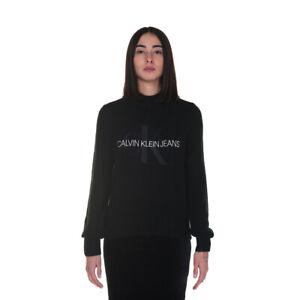 CalvinKlein Monogram Lofty Sweater Maglione Donna J20J216605 BEH Ck Black