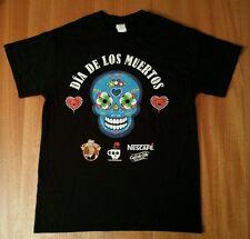 NWOT NESCAFÉ DÍA DE LOS MUERTOS DAY OF THE DEAD NESTLE SKULL BLACK T-SHIRT M