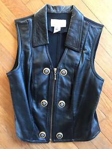 RARE Vintage 90s Cache Black Biker Leather Vest w. Gold Lion Heads haute M