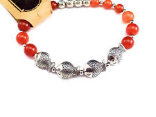 Red agate bracelet  w/ silver accent fish filigree symbol of prosperity Fengshui