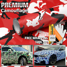 "*48""x60"" Red Morning Wood Camouflage Camo Car Vinyl Wrap Sticker Air Release"