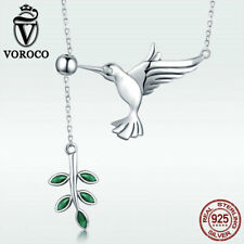 3-5 Days Arrive Bird Olive 925 Sterling Silver Pendant Necklace Chain CZ Jewelry