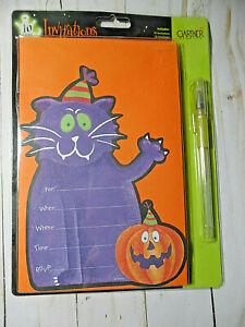 Gartner Studios Halloween Purple Cat Party Invitation NIP 10 count 2003