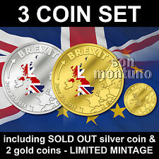 BREXIT 3 COIN SET - SILVER & GOLD PROOF - JUNE 23 2016 Cook Islands - $1 $5 $20