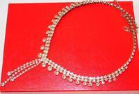 """Vintage Silver Tone Shiny White Rhinestone 22"""" Necklace"""
