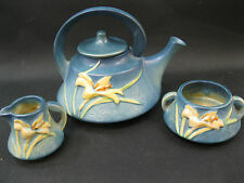 VINTAGE ROSEVILLE POTTERY~BLUE Zephyr Lily~Teapot, Creamer and Sugar~Perfect
