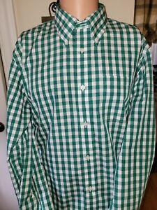 Brooks Brothers Milano Men's Non-Iron Green Checkered Dress Shirt Size X-Large