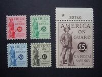 "1941 #PS11-PS 15 Postal Savings Stamps  MNH OG VF CV $65 ""Includes New Mounts"""