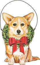 "Corgi dog Holiday Christmas ornament wooden 3.75"" x 5"" wreath"