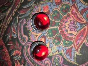 "Hot Rod RED JEWELS for license plate BOLTS Reflectors 1"" diameter RUBY RED"