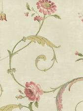 Wallpaper Acanthus Leaf Floral Roses Scroll  Pink Green on Off White