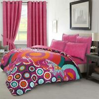 Moroccan Bohemian Cotton Rich Boho Duvet Cover Set OR Wave Eyelet Curtains Pair