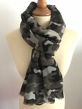 FOULARD ECHARPE CHECHE CAMO CAMOUFLAGE ARMEE MILITAIRE GRIS FONCE