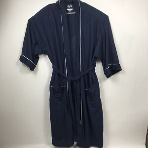 Fruit of the Loom Men's 100% Polyester Navy Blue Waffle Knit Robe - Size 2XL-3XL