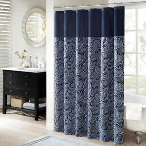 "Luxury Navy Blue Jacquard Paisley Print Fabric Shower Curtain - 72"" x 72"""
