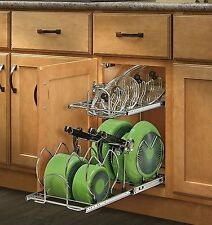 Pull Out Cabinet Cookware Organizer Kitchen Pan Pot Lid Storage Holder 2 Tier