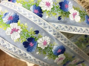 "Vintage Embroidered Jacquard 2 1/8"" Cotton Blue White Flowers 1yd Made in USA"