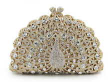 Anthony David USA Gold Metal Clear Crystal Peacock Clutch Evening Bag
