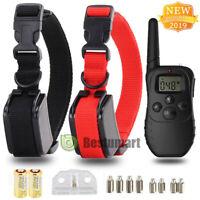 LCD Waterproof 1000 Yard Shock Vibra 2 Dog Training Remote Control Collar Pet US