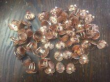Vintage Copper Coated Steel Oval Filigree Blank Setting Adjustable Ring Findings