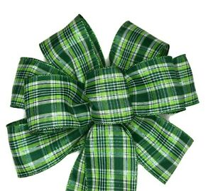 "10"" Hand Made Wired St. Patrick's Day Wreath Bow - Green Plaid Irish March 17"
