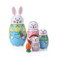 5 Layer Rabbit Nesting Matryoshka Doll Hand Painted Set Russian Doll Toy Baby