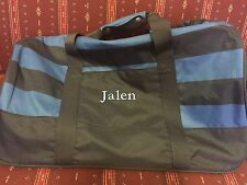 NEW POTTERY BARN Teen Blue Rugby Stripe Getaway Duffel Bag JALEN Sports Duffle