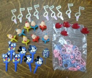 Lot 50+ Vtg Clown, Baby Shower, Mickey, Notes, Hearts Cake Cupcake Toppers Picks