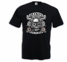 Biker T-Shirt Lucky 7 Motorcycle USA AceBike Racing USA Skull V8