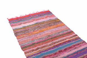 Large Area Rug Hand Loomed Chindi Rug Vintage Floor Carpet 4x6 Rag Rug Throw Mat