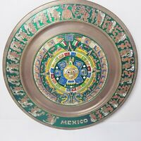 "Vtg 11"" Metal Plate Mexico Mayan Aztec Calendar Mexican Art Brass Decor Wall"