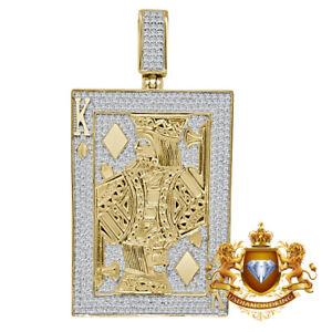 XL 2.75'' 10K Yellow Gold On Real Silver Diamond Pendant Royal King Poker Charm
