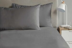 2 x Percale Pillow Cases Luxury Soft Housewife Pillow Slips Covers Charcoal Grey